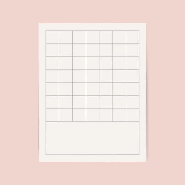 Gráfico de nota de cuadrícula blanca en blanco