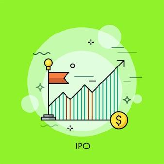 Gráfico o tabla ascendente, bandera roja y moneda de dólar.