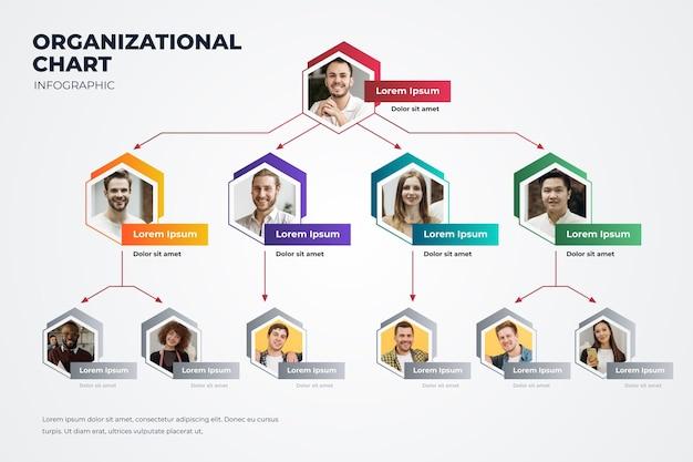 Gráfico de organización de degradado con foto