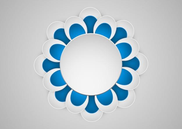 Gráfico de papel de arte geométrico de flores. banner con marco redondo.