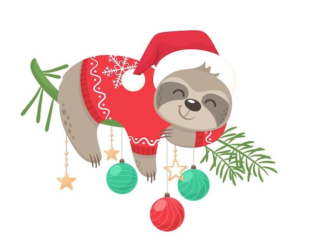 Gráfico de perezoso feliz y lindo para el sello de feliz navidad de vacaciones de navidad