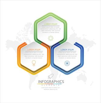 Gráfico de plantilla de diseño de infografías con 3 opciones o pasos