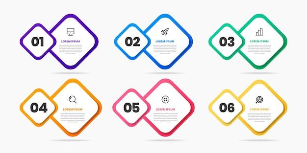 Gráfico de plantillas de diseño de elementos infográficos con iconos y 6 números