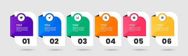 Gráfico de plantillas de diseño de elementos infográficos con iconos y números