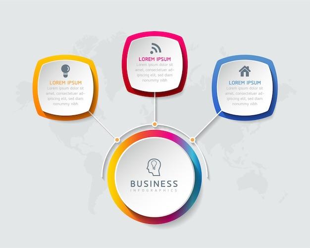 Gráfico de presentación de información empresarial de plantilla de diseño de infografías con 3 opciones o pasos