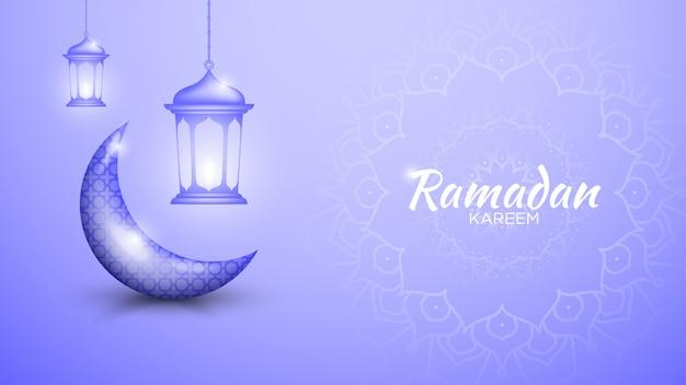 Gráfico de ramadan kareem con luna y linterna