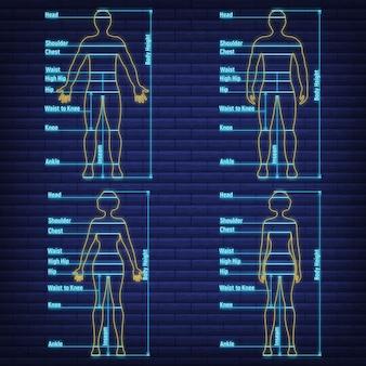 Gráfico de tamaño de resplandor de neón femenino, masculino anatomía humana, silueta de cuerpo lateral de vista frontal simulada de personas aislado