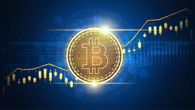 Gráfico técnico de tendencia ascendente de bitcoin en concepto futurista