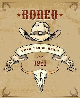 Gráfico temático de rodeo con sombrero de vaquero y calavera de ganado