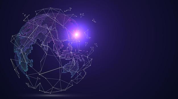 Gráfico de tierra 3d que simboliza la ilustración del comercio mundial.