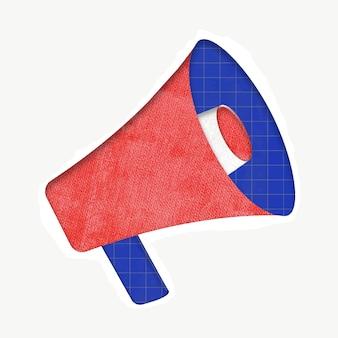 Gráfico de vector colorido megáfono rojo para publicidad digital