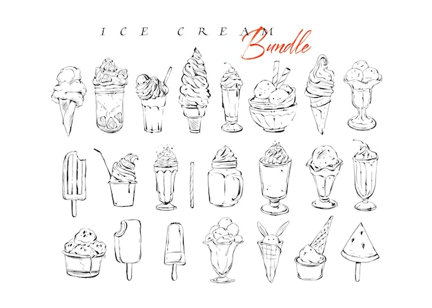 Gráfico de vector dibujado a mano con textura menú artístico tinta colección set dibujo ilustraciones paquete de helado y postres dulces cócteles bebidas en vidrio aislado sobre fondo blanco.