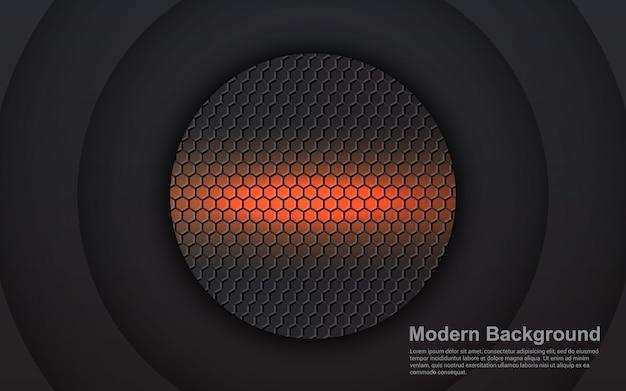 Gráfico de vector de ilustración de fondo abstracto dimensión naranja en negro moderno