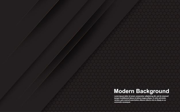 Gráfico de vector de ilustración de fondo abstracto negro con línea marrón moderna