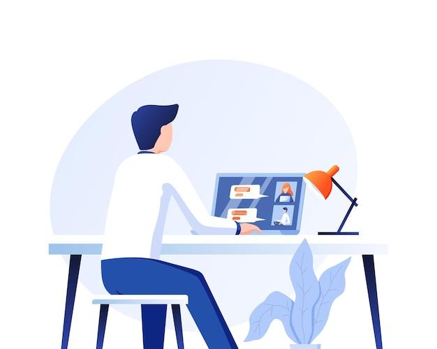Gráfico de vector de ilustración del hombre que tiene una llamada de conferencia con su equipo de negocios en línea
