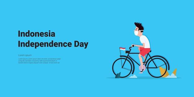 Gráfico de vector de ilustración de niño con una máscara celebrando el día de la independencia de indonesia