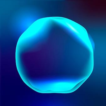 Gráfico vectorial de círculo de tecnología de asistente virtual en azul neón