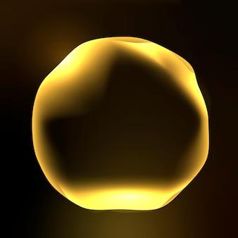 Gráfico vectorial de círculo de tecnología de asistente virtual en oro neón