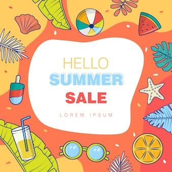Gráfico vectorial de diseño de concepto de venta de verano, fondo completo de color