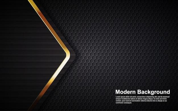 Gráfico vectorial de ilustración de fondo abstracto lujo negro superposición capas modernas