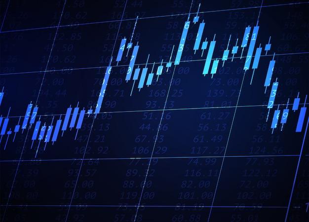 Gráfico de velas japonesas sobre fondo azul neón. datos del mercado financiero