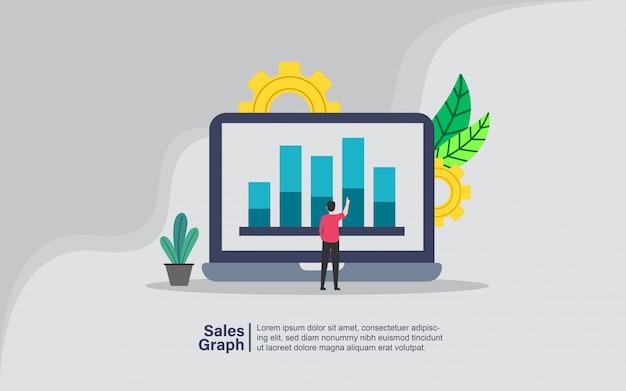 Gráfico de ventas con banner de personaje de personas.
