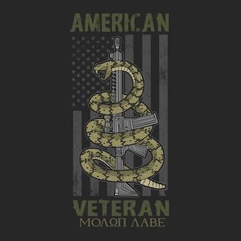 Gráfico veterano americano de las camisetas