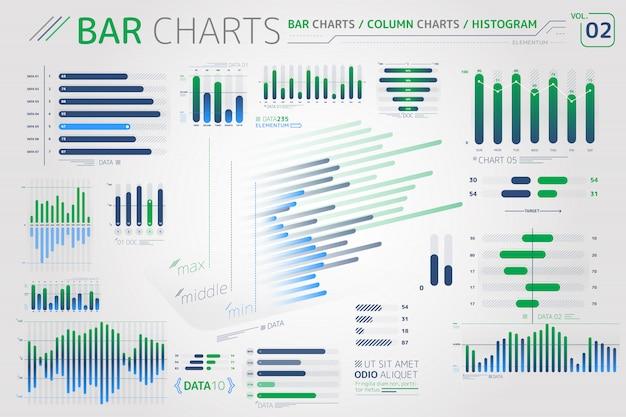 Gráficos de barras, gráficos de columnas e histogramas elementos infográficos