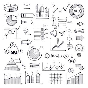 Gráficos circulares, gráficos y tablas. ilustraciones de negocios en estilo dibujado a mano