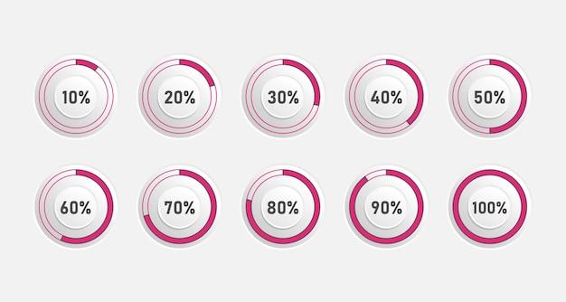 Gráficos circulares modernos abstractos con porcentaje. conjunto de diagramas circulares en plano