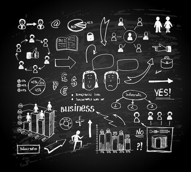 Gráficos de doodle de tablero de tiza. gráficos y tablas de negocios en una pizarra. ilustración vectorial