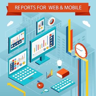 Gráficos e informes comerciales en páginas web y aplicaciones móviles. concepto de gráfico de vector plano isométrico, pantalla de diagrama gráfico