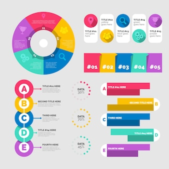Gráficos estadísticos en plantilla de colores vivos.