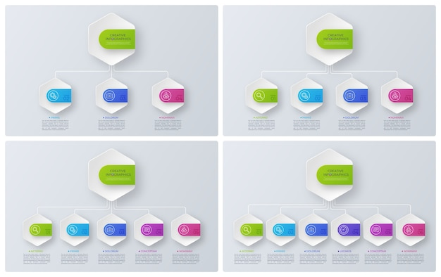 Gráficos de estructura de estilo moderno, diseños infográficos, plantillas de visualización. ilustración