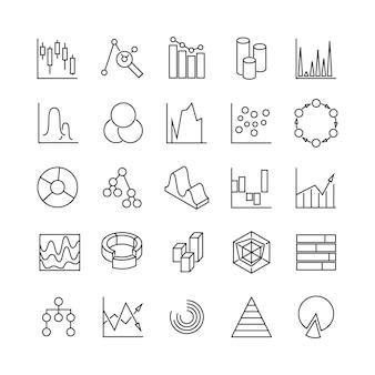 Gráficos financieros y estadísticas infografía negocios diagramas iconos de línea, gráficos analíticos poctogramas