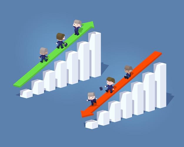 Gráficos y flechas 3d lowpoly positivos y negativos de negocios