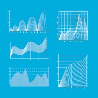 Gráficos de funciones matemáticas. diagramas de gráficos de datos.