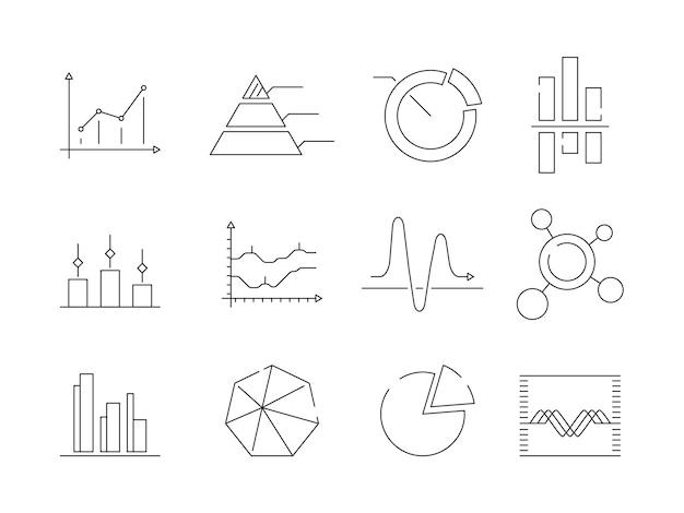 Gráficos gráficos iconos. símbolos de vector de esquema gráfico de estadísticas comerciales aisladas