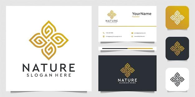 Gráficos de ilustración de logotipo de adorno de hoja en concepto de arte lineal. adecuado para spa, decoración, hojas, flores, publicidad, yoga y tarjetas de visita.
