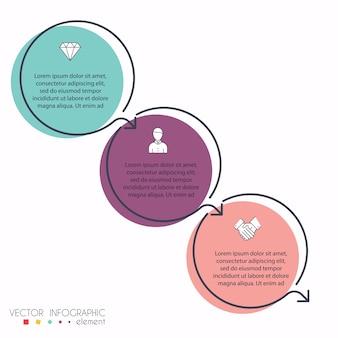 Gráficos de información coloridos para sus presentaciones de negocios. se puede utilizar para el diseño de sitios web, banners numerados, diagrama, líneas de corte horizontales, web.