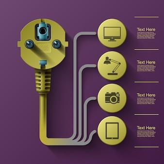 Gráficos de información empresarial, enchufe eléctrico, cuadrado con sectores de información debajo, ilustración