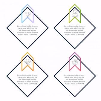Gráficos de información para sus presentaciones de negocios. se puede utilizar el diseño del sitio web, pancartas numeradas, diagrama, líneas de corte horizontales, web.