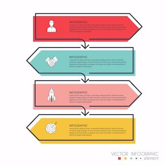 Gráficos de información para sus presentaciones de negocios. se puede utilizar para el diseño de sitios web, banners numerados, diagrama, líneas de corte horizontales, web.