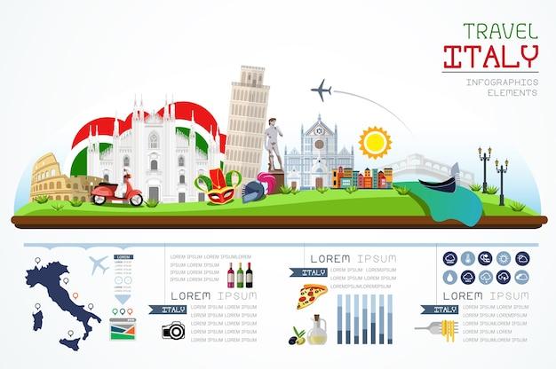 Los gráficos de información viajan y señalan el diseño de la plantilla de italia.