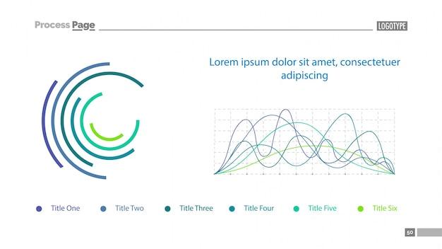 Gráficos de línea y plantilla de diapositiva de donut