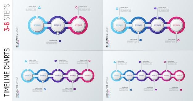 Gráficos de línea de tiempo de infografía. 3-6 plantillas de opciones.