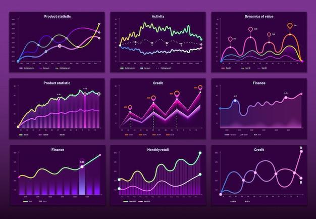 Gráficos lineales. gráficos financieros comerciales, gráficos de marketing y conjunto de infografías de histograma.