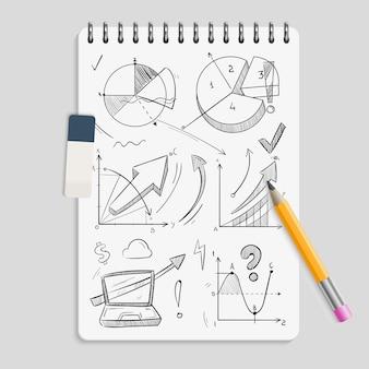 Gráficos de negocios: bocetos a lápiz en un cuaderno realista con borrador y lápiz - concepto de lluvia de ideas