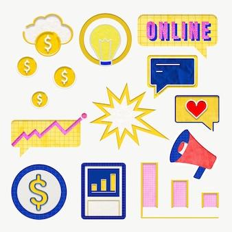 Gráficos de negocios coloridos para conjunto de marketing