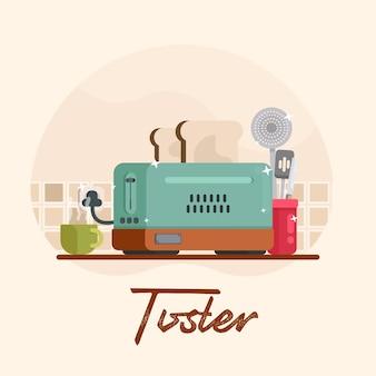 Gráficos de utensilios de ilustración de tostadora de cocina plana